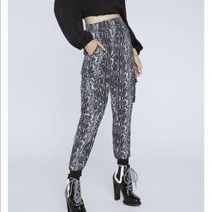 Alice + Olivia Jadon Snake Printed Cargo Pants